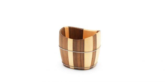 Nakagawa Shuji two tone bucket oke Kyoto handmade wood craft Japan