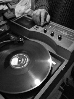 Koya Abe selling vintage records in Tokyo